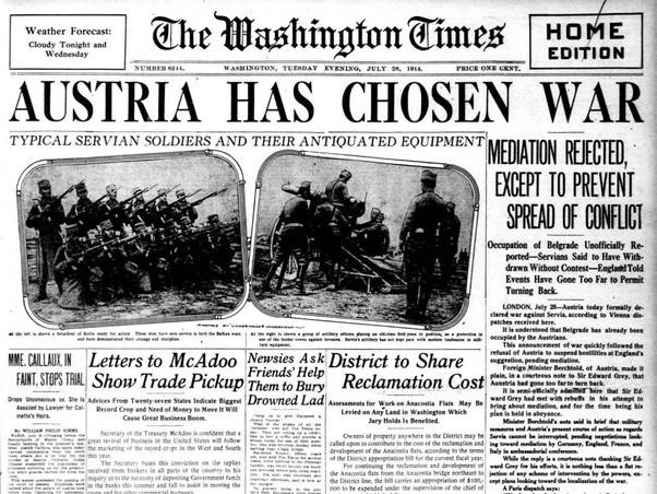 Newpaper_Austria-declares-war---7.28.1914